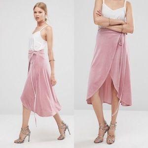 ASOS Wrap Midi Skirt Velvet Tulip Hi Lo Dusty Rose